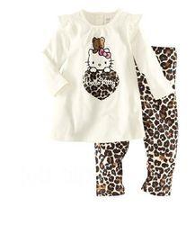Children Clothing Set Cartoon Cat Long T Shirt + Leopard Grain Leggings 2pcs Girl Casual Suit Homewear Set Kids Pajamas GX749
