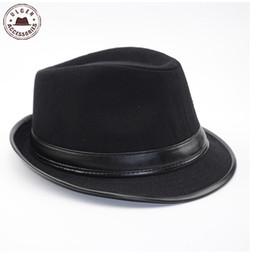 Wholesale-Cool Men's Fedora Hat Summer Jazz Fedoras Hat For Men classic dancing winter wool caps gentleman black fedora