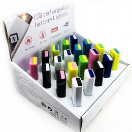 Wholesale colorful USB recharger battery lighter Flameless Cigar Cigarette Lighter Rechargeable Cigarette Flameless Lighter Windproof