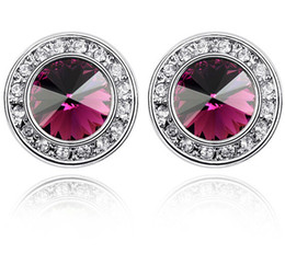 Pendientes Purple Crystal Round Stud Earrings For Women White Gold Plated Earings Made With Swarovski Elements Fashion Jewelry 1663