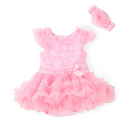 New 2015 Pink Baby Girl lace Tutu Dresses Newborn Infant Jumpsuit Flowers Fashion Summer Sets Rompers and Headband baby Costume
