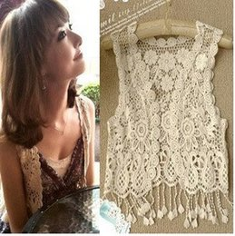 Wholesale Sexy Beach Embroidery Vintage Retro Sweet Cute girls Crochet Floral Hollow Lace Vest outwear Slim Bohemia Tank Top Blouse For Women ZJ1414
