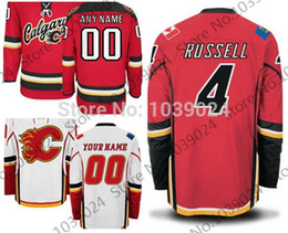 30 Teams-Wholesale Outlet #4 Kris Russell Jersey Red White Alternate K. Russell Calgary Flames Hockey Jersey Limited Sales