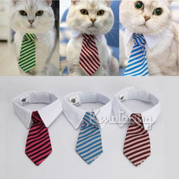 Small Medium Size Dog Cat Pet Stripe Bow Tie Neck Tie White Collar Multi Colors