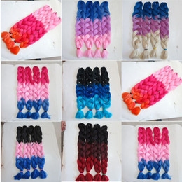 Kanekalon Synthetic braiding Hair 82inch 165g Red&Pink&Blue Ombre Three tone color Jumbo Braid hair extensions 7 colors