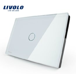 Wholesale Smart home Livolo White Crystal Glass Panel AC110 V LED indicator US Light Touch Screen Switch VL C301