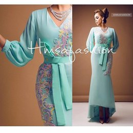 Mint Green Prom Dresses 2016 with Beaded Embroidery Long Sleeves Sheath Hi Lo V Neck Chiffon Evening Dresses
