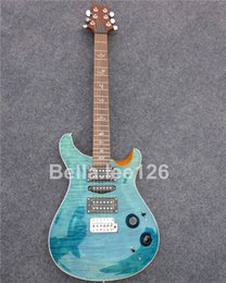 Wholesale lake blue maple top guitars,popular music instrument Paul Smith electric guitar with 3 pickups guitar