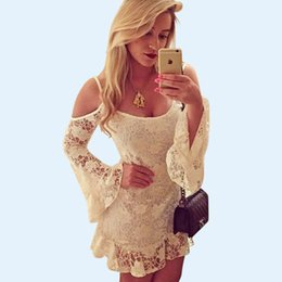 Ladies White Floral Lace Slip Dress Long Sleeve Ruffles Mini Casual Dresses Summer Beach Dresses Cute Girls Graduation Party Dresses YH078