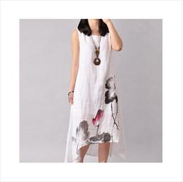 Wholesale 2017 mujeres más los vestidos flojos del tamaño visten el verano flojo del o cuello del vestido de lino sin las mangas flor del estilo de la vendimia imprimieron el vestido largo en la fricción