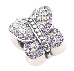 Sterling Silver Charms 925 Ale Rhinestone Butterfly European Charms for Pandora Bracelets DIY Beads Accessries Free Shipping