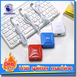 Wholesale White Blue Red Usb Share Sub Port Hub Usb Splitter Puertos Usb High speed Transmission Usb Hub With Power Adapt Computer