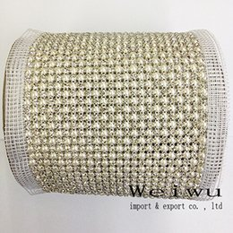 Wholesale 24 Rows Yards Sewing Rhinestone Pearl Mesh Trimming Aluminium Silver Base