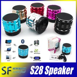Wholesale Bluetooth Mini Speakers Outdoor Speakers S28 Hands free Mic Stereo Portable Speakers TF Card Call Function with Retail Package