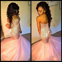 Glamorous Sweetheart Mermaid Pink Prom Dress Sleeveless Lace-up Puffy Court Train 2020 Newest Bling Pageant Dresses Party Evening