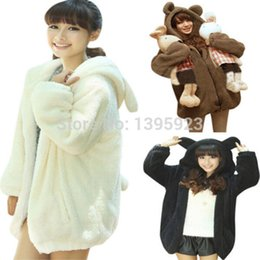 Hot Selling 2015 Womens Long Sleeve Hooded Outwear Hooded Sweatshirt Cartoon Bear Ear Fleece Hoodies