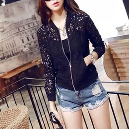 2015 Hot Sale Women Lace Jacket Hollow Out Jacket Women Tops Long Sleeve Slim Black Outwear Women Lace Coat
