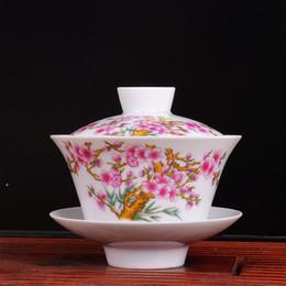 Wholesale Teacup authentic Jingdezhen porcelain peach flower gaiwan cup kongfu tea set ceramic cup cc nice gift