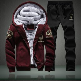 Wholesale-Brand Outdoor Men's Sport Tracksuits Thick Velvet Hoodies Winter Sets Hooded Sweatshirt + Pants 4 Colors Plus Size M-4XL,