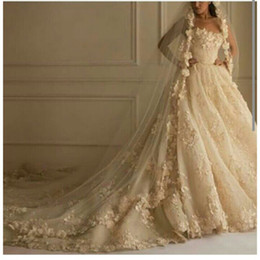 Zuhair Murad 2019 Sexy A-Line Wedding Dresses Sweetheart Strapless Lace Gorgeous Wedding Party Dresses With Handmade Flowers