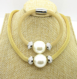 Top Selling Romantic Design Gold Mesh Chain Drill Magnetic Bracelet & Necklace Set Stainless Steel Big Pearl Free Shipping