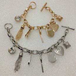 Wholesale Silver Gemstone Jewelry Settings Wholesale - High Quality 7 pendants charm bracelets 925 silver gold plated padlock Key love heart crystal gemstone charms jewelry for men women K&M-2016