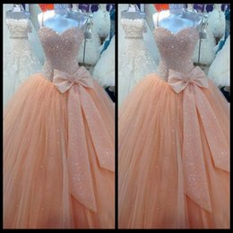 Wholesale Luxury Quinceanera Dresses Vestidos De Anos Actual Image Spaghetti Straps Peach Beaded Tulle Ball Gown Long Party Prom Dress Gowns Custom
