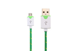 1M 2M 3M Micro USB Fabric Braided Flat Data Sync And Charger Cable Fiber Flat Woven Charger Cord For Smart Mobile Phone