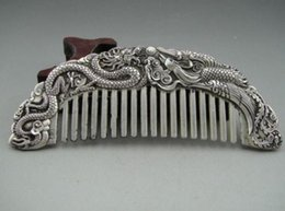 Wholesale aaa Old Collectibles Handwork Tibet Silver Dragon phoenix Wonderful Comb