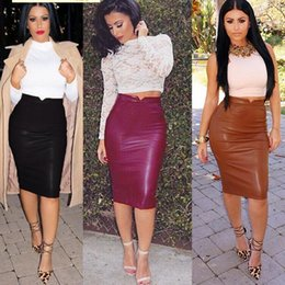 Wholesale New Women black PU Leather Skirt Women Bandage Bodycon Vintage High Waist Skirt Female Pencil midi Skirts