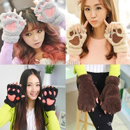 Wholesale-Holiday sale 2015 Winter Warm Women Gloves Fluffy Bear Plush Paw Fur Gloves Mittens Free Shipping