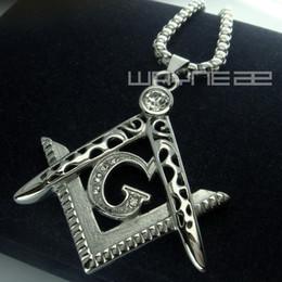 Wholesale Men white gold fiiled Freemasonry Masonic Mason Pendant Free chain necklace N242