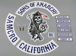 Wholesale Sons Of Anarchy Patch BLUE TWILL STYLE Biker MC Patches For Clothes Back Full Size Custom Embroidered Iron On Patches