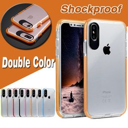 Double Color Soft TPU+PC Transparent Shockproof Anti-fall Protective Cover Case For iPhone XS Max XR X 8 7 6 6S Plus Samsung Galaxy S9 S8