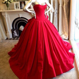 Ball Gown Red Prom Dresses Floor Length Sweetheart Vestidos de Festa Pageant Dress Ruffed Real Picture Formal Evening Gowns 2015