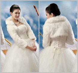 Free Shipping Full Sleeve Faux Fur Bridal Wraps & Jackets Coat Wedding Accessories