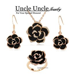 Rose Gold Color Black Rose Design Austrian Crystal Necklace Earrings Ring Jewelry Sets Wholesale Bride Jewelry