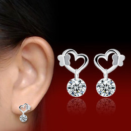 Fashion Women Jewelry 925 Sterling Silver Plated Butterfly Heart-shaped Crystal Zircon Earrings Eardrop Charm Dangle Stud Earrings 2 Colors