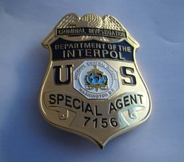Wholesale The United States of American International INTERPOL metal badge badge copper metal badge badge