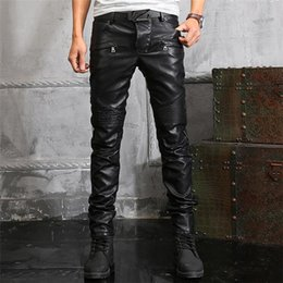 TOP Mens Jeans new sales European and American style leather pants influx of men Slim Straight men washed soft leather motorcycle pants