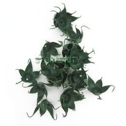 Wholesale Silk Material Flowers - 50pcs Green Artificial Rose Torus Leaves Receptacle Calyx Silk Flower Decor Flowers DIY Material