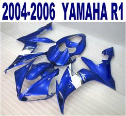 Injection molding plastic fairing kit for YAMAHA 2004 2005 2006 YZF R1 blue white fairings set yzf-r1 04-06 VL24