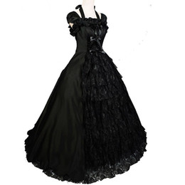 Southern Bell Costume Black Lolita Gothic Colonial Brocade Period Dress Ball Gown Theatre Halloween Costumes for Women Black Dress Custom