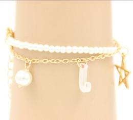 Promotion boutiques de charme Wholesale-Hollow Pearl Coins élément Avatar Déclaration Charm Multilayer Bangle et Bracelet Mode Bijoux Femmes PD26 - Lady shop M1616