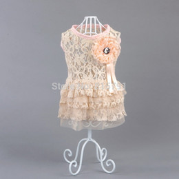Wholesale lace pet dog dress clothing for dogs cotton girl dog clothes pink for teddy poodle yorkie bulldog pug