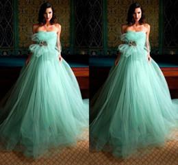 Wholesale 2016 New Prom Dresses Vestidos de feista Sheer Tulle A Line Strapless Back Zipper Sparking Crystal Elegant Formal Turquoise Gre Dress