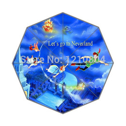 Wholesale Custom Design Classic Animated Film amp Peter Pan Quote Return to Neverland Background Triple Folding Umbrella for women