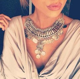 Wholesale Bohemia Gypsy Beachy Chic Vintage Necklaces Carved Coin Fringe Beach Statement Necklaces Pendants Boho Party Jewelry