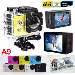 Wholesale Gopro P Waterproof Sports Camera SJ4000 SJ5000 Style A9 HD Action Camera Diving M LCD View Mini DV DVR digital Camcorders