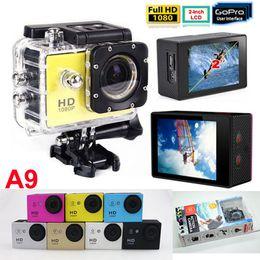 Wholesale Gopro P Waterproof Sports Camera SJ4000 SJ5000 Style A9 HD Action Camera Diving M LCD View Mini DV DVR digital Camcorders